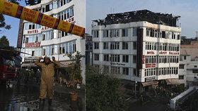 V Indii hořel hotel. Požár v Dillí si vyžádal 17 mrtvých, mezi nimi i dítě