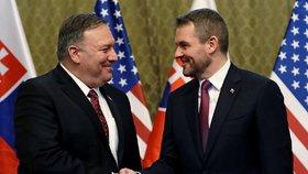 Americký ministr zahraničí Mike Pompeo se setkal se slovenským premiérem Peterem Pellegrinim. (12.2.2019)