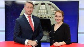 Viceguvernér České národní banky Tomáš Nidetzký byl hostem pořadu Epicentrum 13. 2. 2019. Vpravo moderátorka Klára Brunclíková.