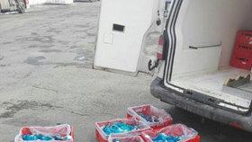 Přepravky s polským masem, které nařídili inspektoři vyložit z dodávky.