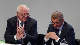 Jaroslav Faltýnek a Andrej Babiš na pátém volebním sněmu hnutí ANO v Praze (17. 2. 2019)