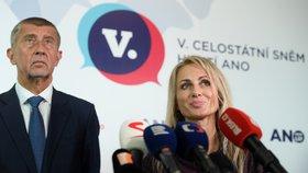 Andrej Babiš na sněmu hnutí ANO potvrdil, že jedničkou kandidátky hnutí do eurovoleb bude dosavadní europoslankyně Dita Charanzová (17. 2. 2019)
