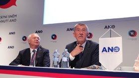 Andrej Babiš se stal předsedou hnutí ANO na další dva roky. Vlevo je Jaroslav Faltýnek (17. 2. 2019)