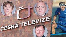 Členové Rady ČT: Zleva Exposlankyně KSČM Levová, notně kritický radní Šarapatka (nahoře uprostřed), dole šéf rady Bednář a vpravo někdejší olympijský šampion Martin Doktor.