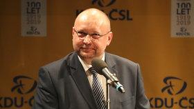Jan Bartošek během pražské debaty kandidátů na šéfa KDU-ČSL v divadle Minor (25. 2. 2019)
