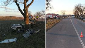 Mladík na Prostějovsku nezvládl řízení. Po nárazu do stromu zemřel.