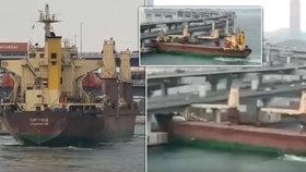 Ruská loď najela do pilíře mostu. Kapitán byl prý opilý