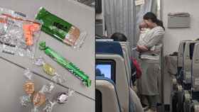 Pasažéry letadla dojal balíček s omluvným lístkem