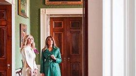Monika Babišová a Melania Trumpová na prohlídce v Bílém domě