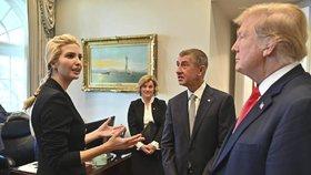 Premiér Andrej Babiš s manželkou Monikou se v Bílém domě setkali i s dcerou prezidenta Ivankou Trump
