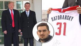 Dar amerického prezidenta pro českého premiéra: Dres s podpisem NBA Tomáše Satoranského (8. 3. 2019)