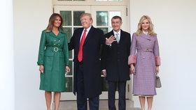 Americký prezident Donald Trump s manželkou Melanií přivítali Andreje Babiše s jeho chotí Monikou 7.3.2019