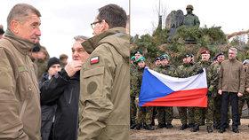 Premiér Andrej Babiš (v první řadě třetí zprava) a ministr obrany Lubomír Metnar (v první řadě čtvrtý zprava) se sešli s českými vojáky 10. března 2019 ve Varšavě při oslavách 20. výročí vstupu Česka, Polska a Maďarska do NATO a 15 let slovenského členství v alianci.