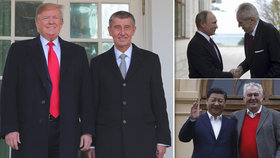 Andrej Babiš navázal osobní vztah s Donaldem Trumpem, Zeman podotkl, že jej má s ruským a čínským prezidentem.