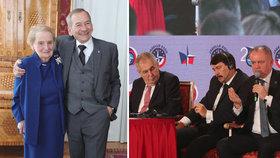 Šéf Senátu Kubera se nadšeně fotil s Madeleine Albrightovou. Na pódiu debatovali prezidenti včetně Zemana a Kisky