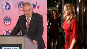 Český prezident Miloš Zeman a finalistka boje o slovenský prezidentský úřad Zuzana Čaputová