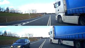 Polský řidič kamionu málem srazil českého řidiče.