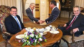 Miloš Zeman přijal v Lánech Maroše Šefčoviče coby kandidáta na slovenského prezidenta (24.3.2019)