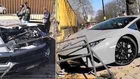Řidič naboural luxusní Lamborghini Huracan Performante v hodnotě 7,5 milionu Kč.