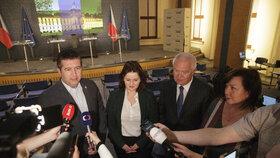 Jan Hamáček, Jana Maláčová, Jaroslav Faltýnek a Alena Schillerová po koaliční radě (1.4.2019)