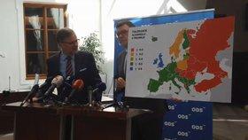 ODS představila návrh na toleranci 0,5 promile alkoholu za volantem. Byl u toho předseda Petr Fiala i šéf poslanců Zbyněk Stanjura (4. 4. 2019)