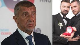 Premiér Andrej Babiš (ANO) nemá problém s novelou, která má uzákonit sňatky homosexuálů.