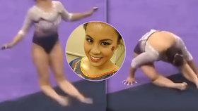 Gymnastka si při soutěži zlomila obě nohy