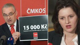 Odbory požadují růst minimální mzdy na 15 tisíc korun. Ministryně práce a sociálních věcí Jana Maláčová (ČSSD) řekla, ať se na tom domluví se zaměstnavateli