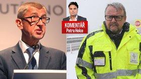 Premiér Andrej Babiš (ANO) a končící ministr dopravy Dan Ťok (za ANO) v komentáři Petra Holce