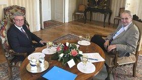 Prezident Miloš Zeman přijal na zámku v Lánech kandidáta na ministra průmyslu a obchodu Karla Havlíčka (15.4.2019)