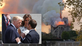 "Na ""hrozivý"" požár Notre-Dame reagovali Emmanuel Macron i Donald Trump."