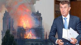 Premiér Andrej Babiš (ANO) uvedl, že Česko je ochotné s obnovou Notre-Damu finančně pomoci. Chrám v pondělí večer zachvátil mohutný požár.