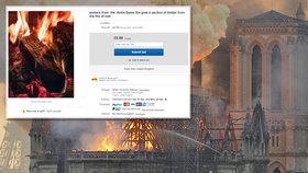 Je libo ohořelé dřevo z Notre-Dame? Lidé se snaží na internetu na zkáze chrámu vydělat.
