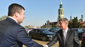 Andrej Babiš (ANO) s Janem Hamáčkem (ČSSD)