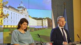 Jana Maláčová (ČSSD) a Richard Brabec (ANO) po jednání vlády