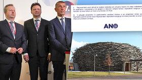 Premiér Andrej Babiš společně s místopředsedy hnutí ANO: Zleva Richard Brabec a Radek Vondráček