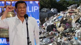 Filipínský prezident Duterte vyhrožoval Kanadě válkou kvůli odpadkům.