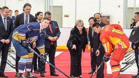 Hokejová legenda Jaromír Jágr v Číně v doprovodu první dámy Ivany Zemanové (25. 4. 2019)