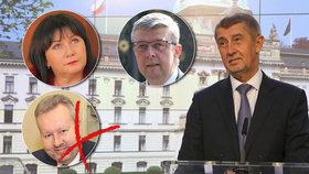 Premiér Andrej Babiš, dva noví vicepremiéři a jeden končící: Alena Schillerová a Karel Havlíček (oba za ANO) se funkcí ujmou, Richard Brabec (ANO) o ni přijde