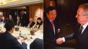 Prezident Miloš Zeman a šéf Huawei na jednání v čínském Pekingu