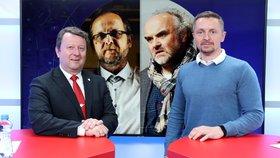 Ministr kultury ČR Antonín Staněk (ČSSD) byl hostem pořadu Epicentrum 29. 4. 2019. Vpravo moderátor Bohuslav Štěpánek.