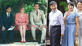 Nový císař Japonska Naruhito: Vlevo s Charlesem a Dianou, vpravo s manželkou Masako a dcerou Aiko