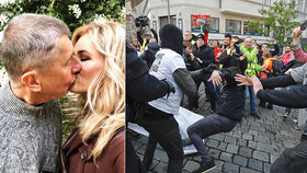 Andrej Babiš se pochlubil prvomájovým polibkem s manželkou Monikou. A v Brně došlo na šarvátky