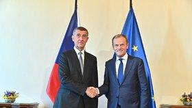 Český premiér Andrej Babiš (ANO) a předseda Evropské rady Donald Tusk v Praze (8. 5. 2019)