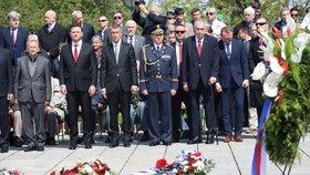 Pieta za oběti 2. světové války na Vítkově: prezident Miloš Zeman a premiér Andrej Babiš (8. 5. 2019)