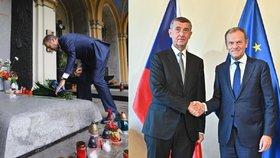Předseda Evropské rady Donald Tusk a český premiér a šéf ANO Andrej Babiš (8. 5. 2019)