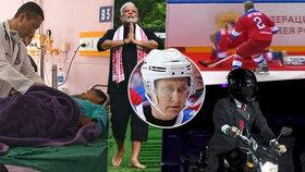 Premiér Bhútánu operuje, premiér Indie cvičí jógu, ruský prezident řádí na ledě a indonéský premiér na motorce