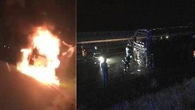 Na dálnici D46 u Prostějova hořel autobus s polskými školáky. Nikomu se nic nestalo.