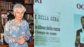 Učitelka Rosa Maria Dell'Ariaová (63) byla suspendována kvůli videu, ve kterém její studenti přirovnali Salviniho zákony k Mussoliniho rasovým nařízením.
