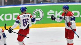 Český střelec Dominik Kubalík se raduje z gólu v utkání o bronz proti Rusku, připsal si už šestou trefu na šampionátu